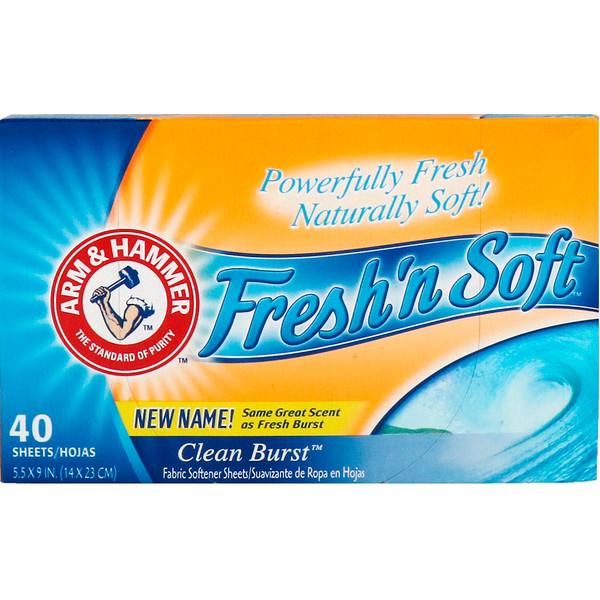 Arm & Hammer, Fresh 'n Soft Fabric Softener Sheets, Clean Burst, 40 Sheets