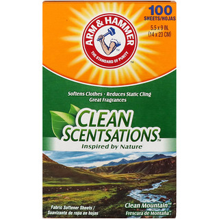 Arm & Hammer, Clean Scentsations, Fabric Softener Sheets, Clean Mountain, 100 Sheets