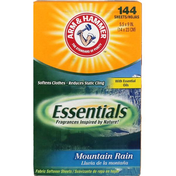 Arm & Hammer, Essentials, Fabric Softener Sheets, Mountain Rain, 144 Sheets