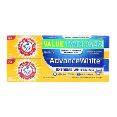 Купить Arm & Hammer Advance White, Extreme Whitening Toothpaste, Clean Mint, Twin Pack, 6.0 oz (170 g) Each