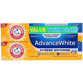 Arm & Hammer, AdvanceWhite, Extreme Whitening Toothpaste, Clean Mint, Twin Pack, 6.0 oz (170 g) Each