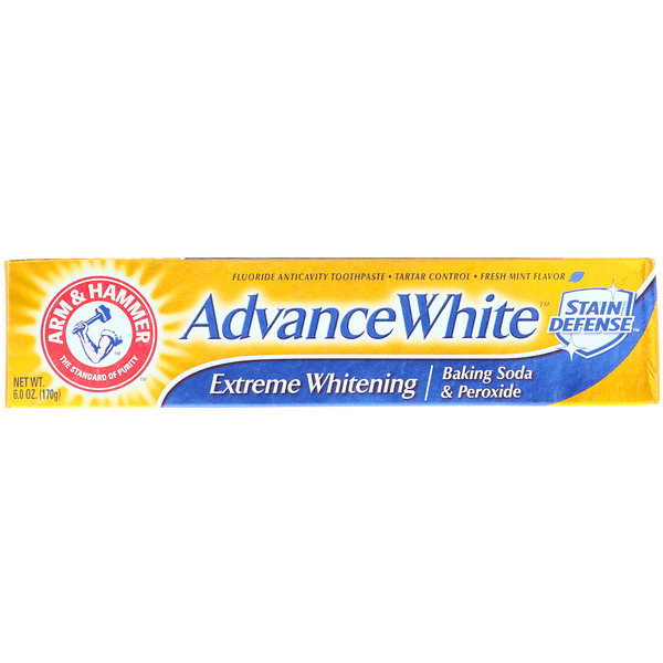 Arm & Hammer, Advance White, Baking Soda & Peroxide Toothpaste, Extreme Whitening with Stain Defense, 6、0 oz (170 g)
