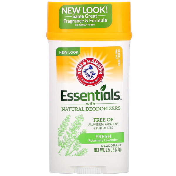Arm & Hammer, Essentials with Natural Deodorizers, Deodorant, Fresh Rosemary Lavender, 2.5 oz (71 g)