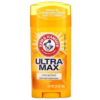 Arm & Hammer, UltraMax, Desodorante antitranspirante sólido, Sin fragancia, 73g (2,6oz)