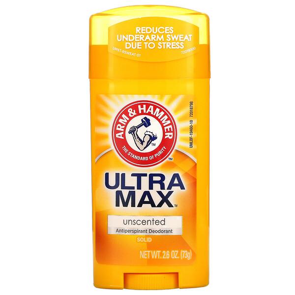 Arm & Hammer, UltraMax، مزيل رائحة العرق المضاد للتعرق على شكل كتلة صلبة، عديم الرائحة، 2.6 أونصة (73 جم)