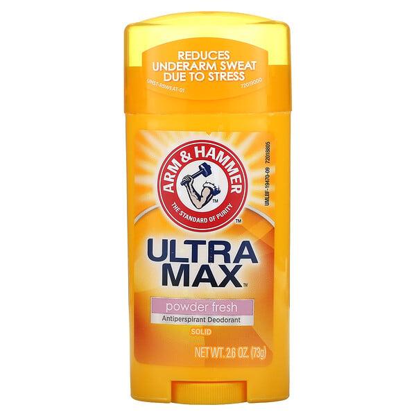 Arm & Hammer, UltraMax ผลิตภัณฑ์ระงับกลิ่นกายและเหงื่อชนิดแท่งสำหรับผู้หญิง กลิ่นพาวเดอร์เฟรช ขนาด 2.6 ออนซ์ (73 ก.)