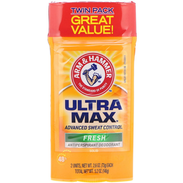 Arm & Hammer, UltraMax, desodorante antitranspirante en barra, para hombre, fresco, paquete de dos, 2.6 oz (73 g) cada una