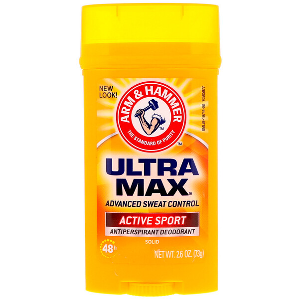 Arm & Hammer, UltraMax, Solid Antiperspirant Deodorant, for Men, Active Sport, 2.6 oz (73 g)
