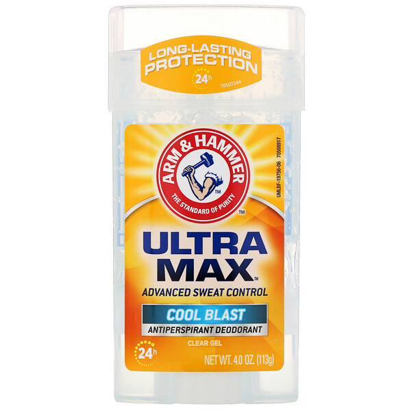 Arm & Hammer, UltraMax, Clear Gel Antiperspirant Deodorant, for Men, Cool Blast, 4.0 oz (113 g)