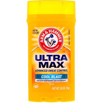 Arm & Hammer UltraMax, Solid Antiperspirant Deodorant, for Men, Cool Blast, 2.6 oz (73 g)