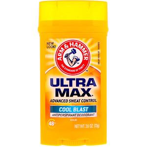 Arm & Hammer, UltraMax, Solid Antiperspirant Deodorant, for Men, Cool Blast, 2.6 oz (73 g) отзывы покупателей