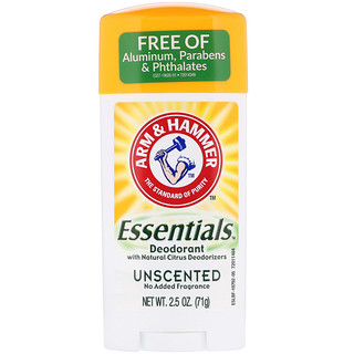 Arm & Hammer, Essentials Natural Deodorant, Unscented, 2.5 oz (71 g)
