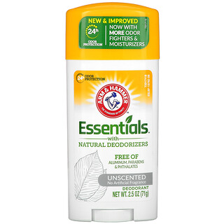 Arm & Hammer, Essentials with Natural Deodorizers, Deodorant, Unscented, 2.5 oz (71 g)