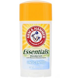 Arm & Hammer, Essentials Natural Deodorant, For Men and Women, Unscented, 2.5 oz (71 g)