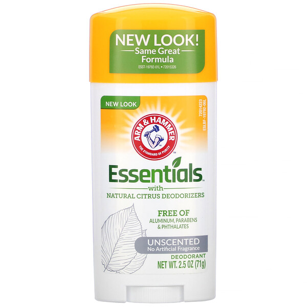 Arm & Hammer, Essentials with Natural Citrus Deodorizers, Deodorant, Unscented, 2.5 oz (71 g)