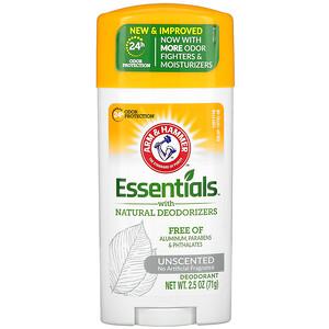 Arm & Hammer, Essentials with Natural Deodorizers, Deodorant, Unscented, 2.5 oz (71 g) отзывы покупателей