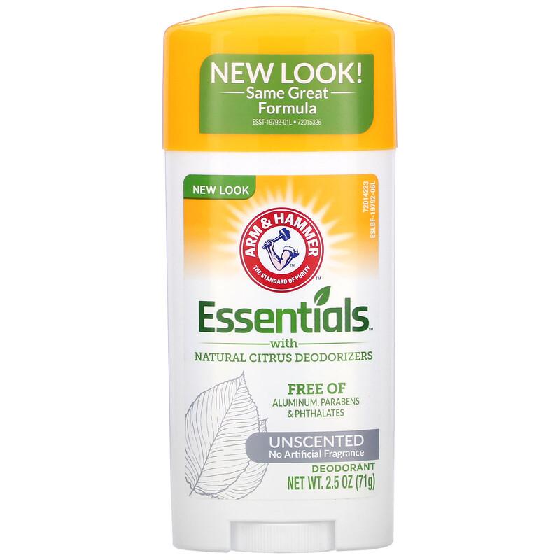 Arm & Hammer, Essentials with Natural Citrus Deodorizers, Deodorant, Unscented, 2.5 oz (71 g)