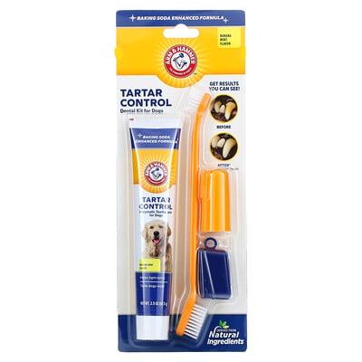 Arm & Hammer Tartar Control Dental Kit for Dogs, Banana Mint, 4 Piece Kit