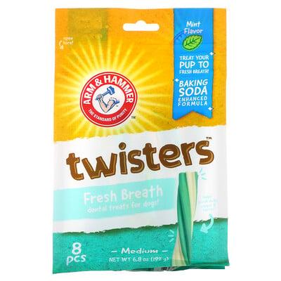 Arm & Hammer Twisters, Fresh Breath Dental Treats For Dogs, Medium, Mint, 8 Pieces