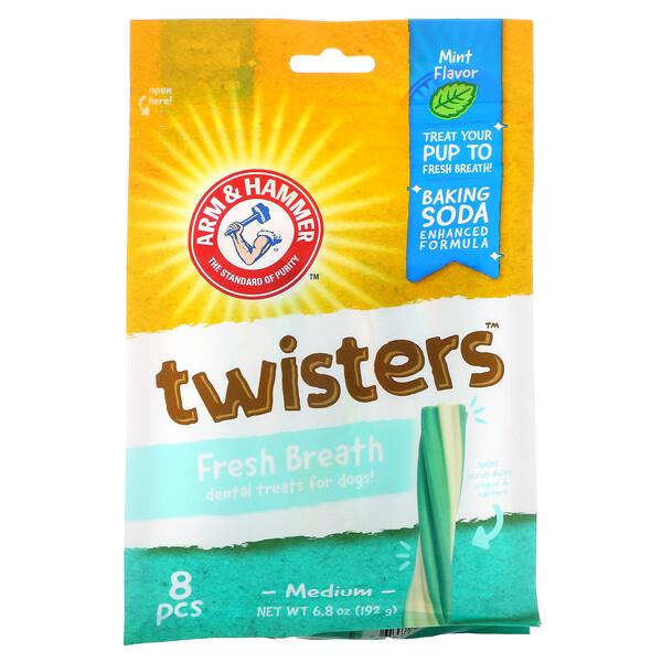 Twisters, Fresh Breath Dental Treats For Dogs, Medium, Mint, 8 Pieces