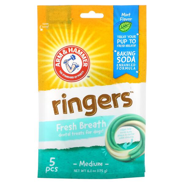Arm & Hammer, Ringers, Fresh Breath Dental Treats For Dogs, Medium, Mint, 5 Pieces