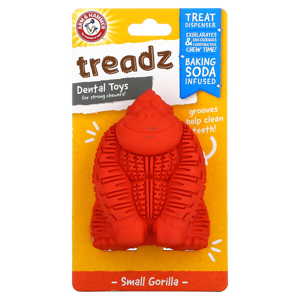 Treadz, Dental Toys for Strong Chewers, Small Gorilla, 1 Toy