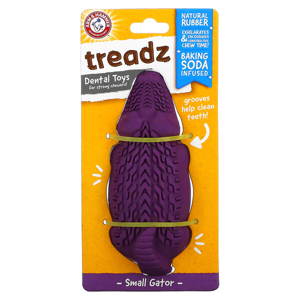 Treadz, Dental Toys for Strong Chewers, Small Gator, 1 Toy