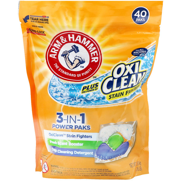 Arm & Hammer, Plus OxiClean 3-IN-1 Power Packs Laundry Detergent, Fresh Scent, 40 Paks (Discontinued Item)