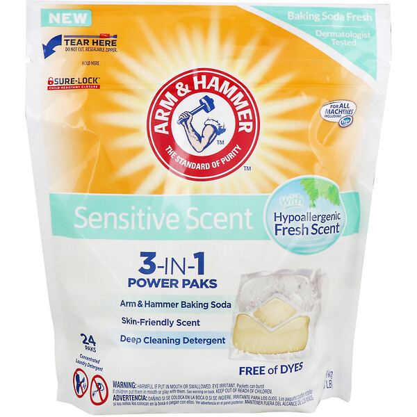 Arm & Hammer, Sensitive Skin 3-IN-1 Power Paks Laundry Detergent, Fresh Scent, 24 Paks