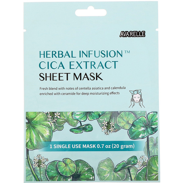 Herbal Infusion, Cica Extract Beauty Sheet Mask, 1 Sheet,0.7 oz (20 g)