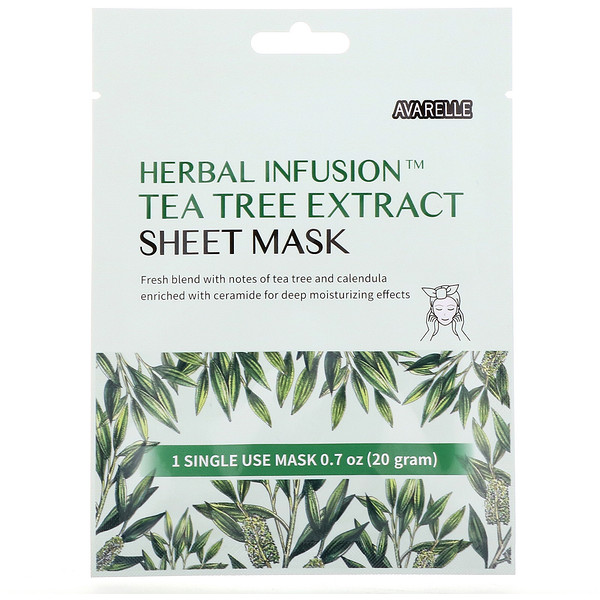 Avarelle, Herbal Infusion, Tea Tree Extract Sheet Mask, 1 Sheet, 0.7 oz (20 g)