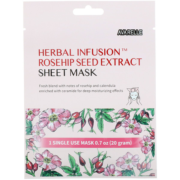 Herbal Infusion, Rosehip Seed Extract Sheet Mask, 1 Sheet, 0.7 oz (20 g)