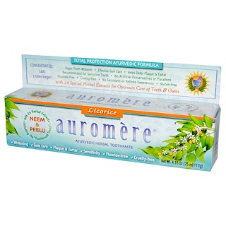 Auromere, Ayurvedic Herbal Toothpaste, Licorice, 4.16 oz (75 ml/117 g)