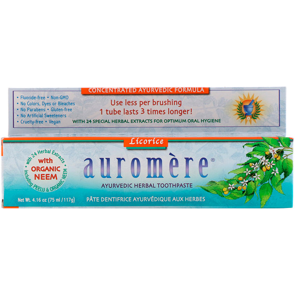 Auromere, アーユルベーダのハーバル歯磨き粉、甘草、4.16オンス(75ml/117g)
