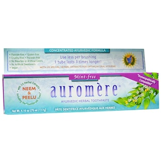Auromere, Ayurvedic Herbal Toothpaste, Mint-Free, 4.16 oz (117 g)