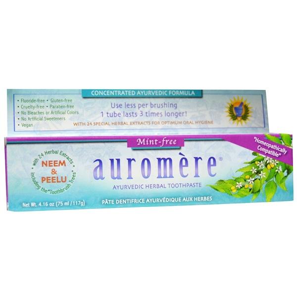 Auromere, 阿育吠陀草本牙膏,不含薄荷,4、16 盎司(117克)