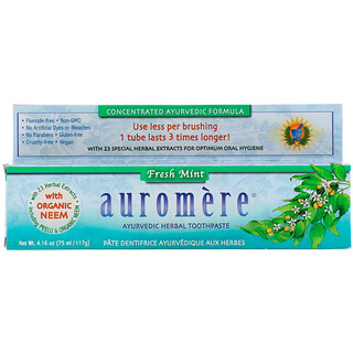 Auromere, Ayurvedic Herbal Toothpaste, Fresh Mint, 4.16 oz (117 g)