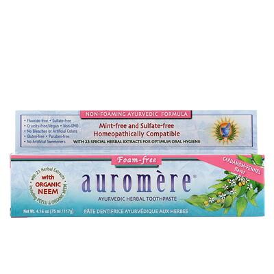 Auromere Аюрведическая зубная паста на травах, не образующая пены, со вкусом кардамона и фенхеля, 4,16 унции (117 г)