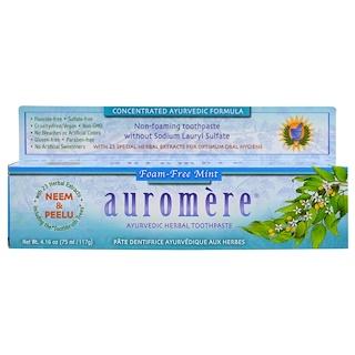 Auromere, アーユルヴェーダハーブ練り歯磨き、非発泡性ミント、4.16 oz (117 g)