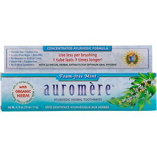Auromere, Pasta de dientes herbal ayurvédica, menta sin espuma, 4.16 oz (117 g)