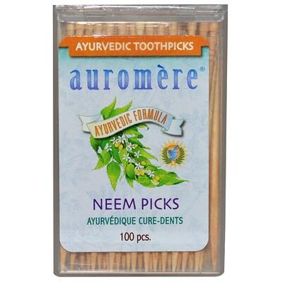 Auromere Аюрведические зубочистки, зубочистики с нимом, 100 штук