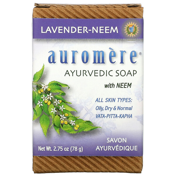 Ayurvedic Bar Soap with Neem, Lavender-Neem, 2.75 oz (78 g)