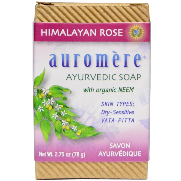 Auromere, Ayurvedic Soap, With Organic Neem, Himalayan Rose, 2.75 oz (78 g)