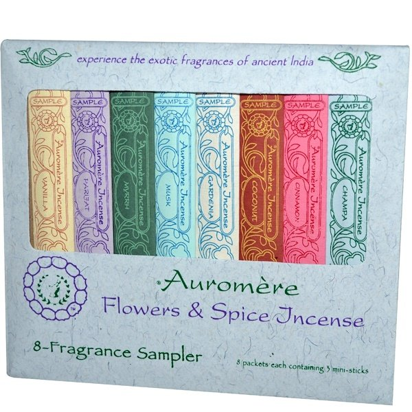 Auromere, Flowers & Spice Incense, 8-Fragrance Sampler, 3 Mini-Sticks Each (Discontinued Item)