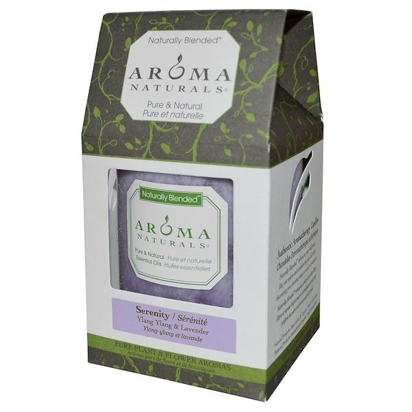 """Aroma Naturals, Naturally Blended, Pillar Candle, Serenity, Ylang Ylang & Lavender, 3"""" x 3.5"""" (Discontinued Item)"""