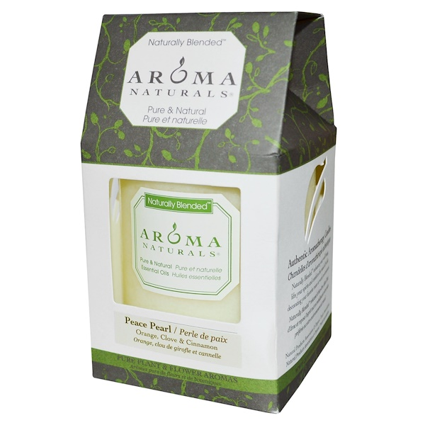 "Aroma Naturals, Naturally Blended, Pillar Candle, Peace Pearl, Orange, Clove & Cinnamon, 3"" x 3.5"""