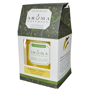 "Aroma Naturals, Naturally Blended, Pillar Candle, Ambiance, Orange & Lemongrass, 3"" x 3.5"""