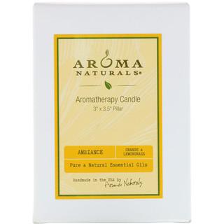 """Aroma Naturals, Aromatherapy Candle, Ambiance, Orange & Lemongrass, 3"""" x 3.5"""" Pillar"""