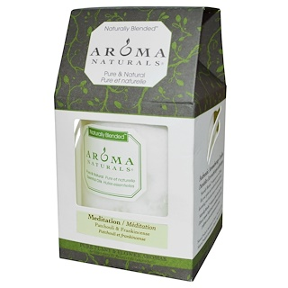 "Aroma Naturals, Naturally Blended, Pillar Candle, Meditation, Patchouli & Frankincense, 3"" x 3.5"""