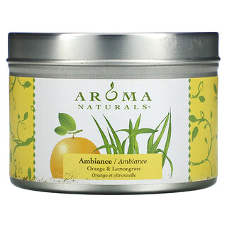 Aroma Naturals, Soy VegePure, Travel Tin Candle, Ambiance, Orange & Lemongrass, 2.8 oz (79.38 g)